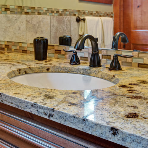 A Granite Bathroom Countertop.